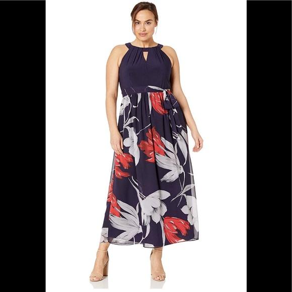 S.L.FashionsWomen\'s Plus Size Maxi,navy multi,NWT Boutique